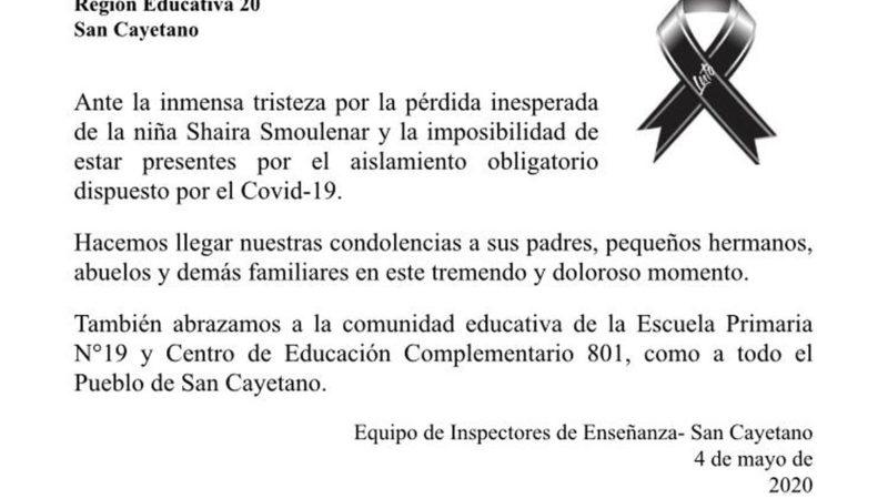 Equipo de Inspectores de Enseñanza envió condolencias a familia Smoulenar-Torres