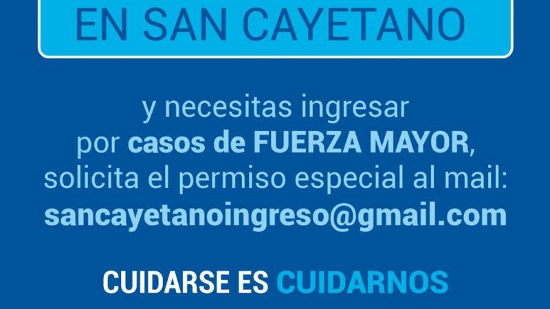 Permisos especiales para ingresar a San Cayetano
